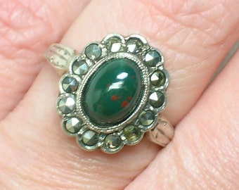 Art Deco Ring, Bloodstone with Marcasite Halo, English 9ct Gold & Silver. Size 5