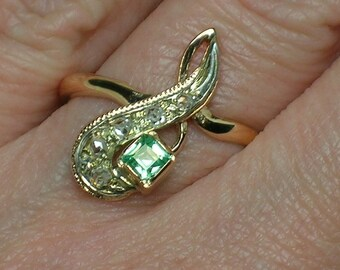 Soviet 583 Rose Gold Ring, Rose Cut Diamonds, Square Cut Green Spinel. Yerevan, Armenia. Size 7 3/4