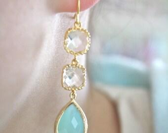 Mint Earrings Gold Earrings, Aqua Earrings, Bridesmaids Jewelry, Bridesmaid Earrings, Gifts for Her, Best Friend Gifts, Girlfriend Gifts