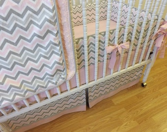 Made to Order 4 pc Pink and Gray Chevron Bedding Set