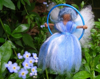 Needle Felted Fairy on a Swing - Forget Me Not Blue