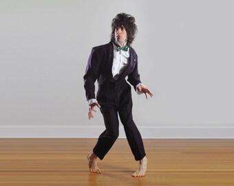 mens vintage suit 80s style club suit 80s new wave crop suit purple snakeskin reptile pattern 1980 Billion Bay 38 40 Lucky 7 vintage mens
