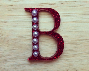 Red Glitter and Pearl laser cut acrylic brooch