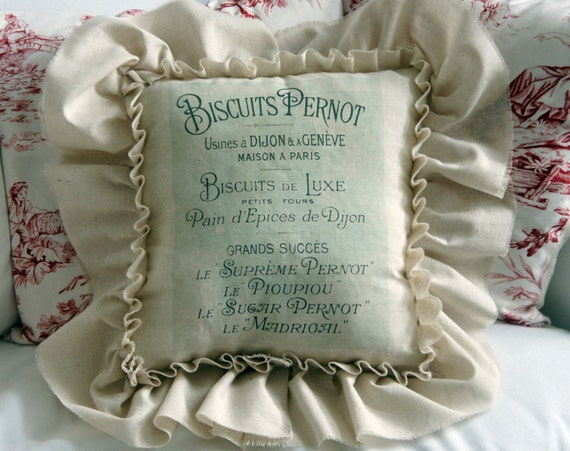 French Farmhouse Style Bakery Pillow With Ruffle