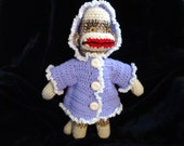 """Lavendar Crochet Hooded Jacket for 18"""" Sock Monkey"""