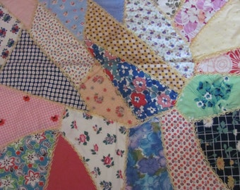 """Lovely Antique Hand Stitched Crazy Quilt Square 18"""""""