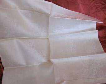 "Set of 5 Vintage Crisp Damask Irish Linen Napkins 20"" Square"