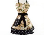 Cream Skulls and Roses Black Polka Dots Apron / Retro Inspired 2 Tier Apron