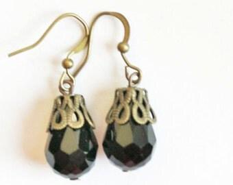 Dangle earrings, Black stone earrings