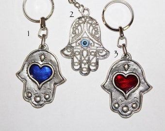 Hamsa keychain, large hamsa keychain, Hamsa key ring, hamsa charm, metal keychain, evil eye keychain, evil eye key chain