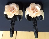 Black Satin with Champagne Satin Accent and Champagne Flower Girl Baskets Set of 2