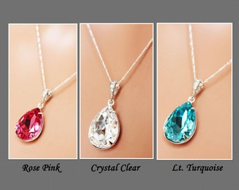 Crystal Drop Wedding Necklace, Crystal Clear, Turquoise, Rose Pink Bridal Necklace, Bridesmaids Pendant, Bridal Accessories, Wedding Pendant