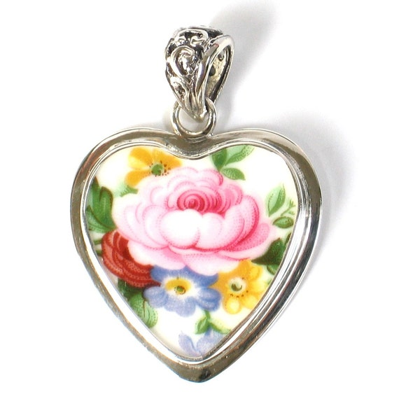 Broken China Jewelry Royal Albert Lady Carlyle Pink Rose Heart Sterling Pendant