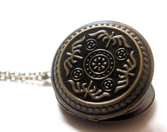 The Bird Pattern - Large Vintage Style Antiqued Brass Round Locket Necklace