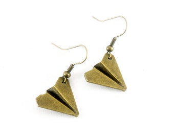 Origami Plane Antiqued Brass Plane Dangle Earrings - Paper Folded Plane - Bridesmaids Gifts Ideas - CP074
