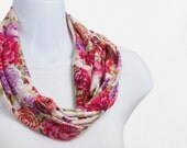Bright Floral Scarf - Pink, Fuchsia and Purple SUPER Soft T-Shirt Knit Infinity Scarf ~ K124-S5