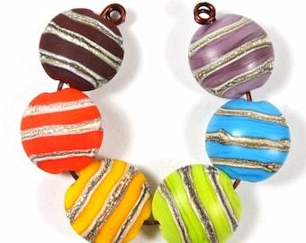 Handmade Lampwork Bead Set - Lentil shape- Etched lampwork beads