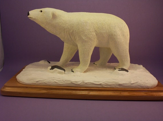 Polar bear wood carving collectible art sculpture wild life figurines rustic cabin decor carved wood hand made gift for him or her OOAK
