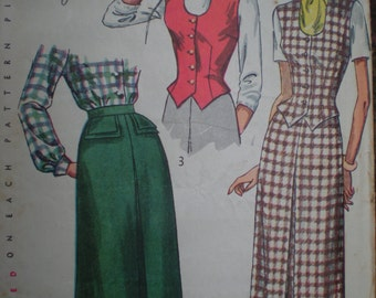 1949 Simplicity Skirt and Weskit Vest Sewing Pattern 2720, Size 16, Bust 34