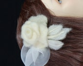 HOLIDAY GIFT SALE White Rose Hair Comb, Winter Wedding Fascinator, Silk Felted wool, Handmade Christmas Gift