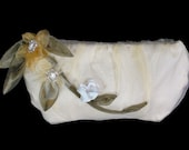 HOLIDAY GIFT SALE! Organza cream floral evening clutch with beads and 3D flowers, One of a Kind Handmade Christmas Gift