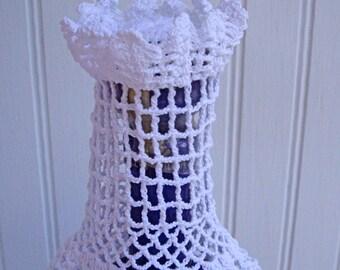 Vintage Bottle Perfume Liquor Wine Crocheted Doily Cover Dress OOAK 1940s