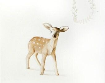 Deer Art Deer Painting Deer Print. Baby Deer Acrylic Baby Animal Painting Baby Deer Nursery Art Woodland Animal Forest Animal Fawn Decor.