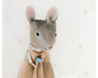 Cute animal art for kids rooms - Mouse art print - Kids room art whimsical nursery art for girls room Nursery Art for Kids Room Décor