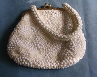 Vintage Handbag White Plastic Beads Cream Fabric Wedding Accessories Top Handle Purse Gift Guide Women
