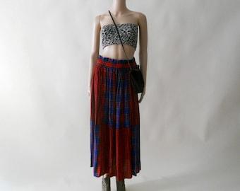 boho plaid color block maxi skirt . small medium