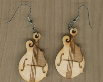 FREE SHIPPING - Mandolin Earrings - Laser Cut Wood (ER-022NN)