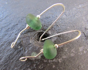 Green Seaglass Earrings, English sea glass, beach glass earrings, Seaham glass