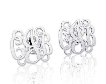 Monogram earrings Personalized Earrings -Solid Silver,stud earrings letter earrings initial earring, nameplate earring