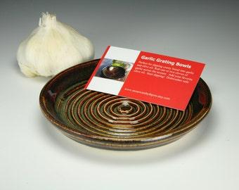 Garlic grater bowl. Brown glaze