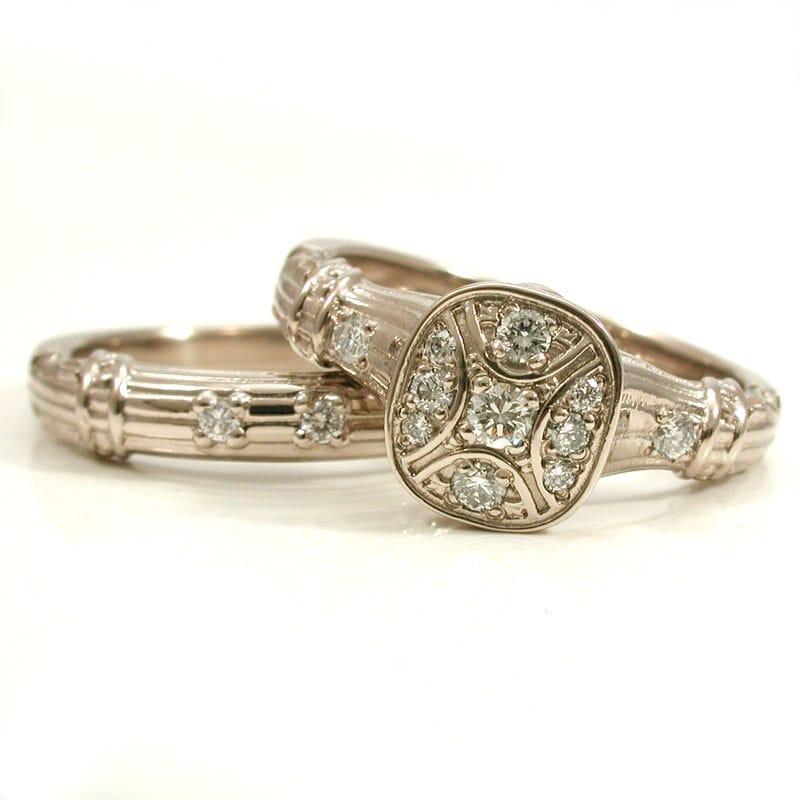 antique deco engagement wedding ring set 14k palladium