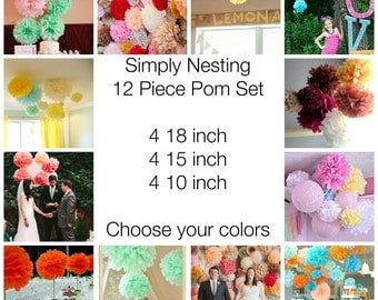 12 Tissue Paper Pom Poms, Wedding Decor, Nursery, Birthday Party, Party Decorations, Tissue Paper Flowers, Communion, Baby Shower, Reception