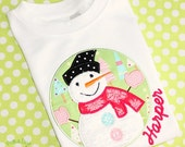 Girly Snowman Winter girls Christmas holiday personalized Custom monogrammed  child's T-Shirt girls appliqued embroidered