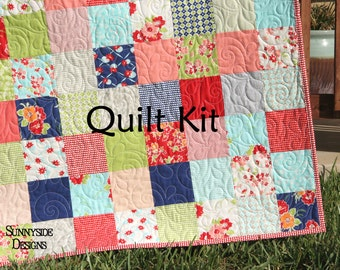 Miss Kate Quilt Kit, Bonnie and Camille, Moda Fabrics, Red Blue Aqua Cream, Retro Flowers, Baby Size, Crib Blanket, DIY Do It Yourself
