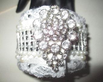 Cuff Bracelet Cream Lace Pearls Vintage Rhinestone