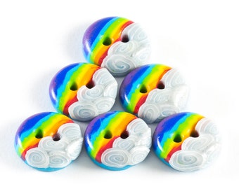 Polymer clay small buttons rainbow connection set of six