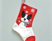 French Bulldog Dog Personalized Christmas Stocking by Allenbrite Studio