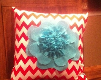14x14 Red & White Chevron Pillow With Turquoise Felt Flower