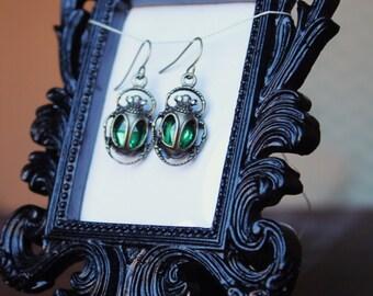 Scarab Beetle Earrings in Emerald Green