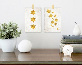 2 pc, 4 x 6, Gold Stars, Digital Download, Gold Stars, Vintage Style Educational Plates