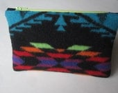 Colorful Turquoise Geometric Wool Zipper Pouch With Apple Green Zipper