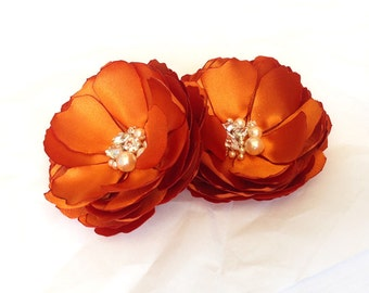 Burnt Orange Satin Flower - Hair, Shoe Clips, Brooch Pin for a Bride, Bridesmaid Gift, Flower Girl, Event, Family Photo Many Color - Kia