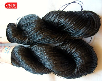 "Viscose Silk Yarn. knitting and crochet lace yarn. color: black. Yarn ""ajur"" (col. 05)"