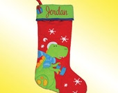 Christmas Stocking - Personalized and Embroidered - Dinosaur Applique - Supplies are limited . . . Order Quickly!