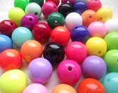 40 Mix color Round 20mm Acrylic Beads, Gumball Beads, Bubblegum Beads, Chunky Beads, Acrylic beads, solid, bright, neon