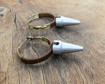 Vintage Earrings Mid Century Modern Industrialist Hoop Earrings